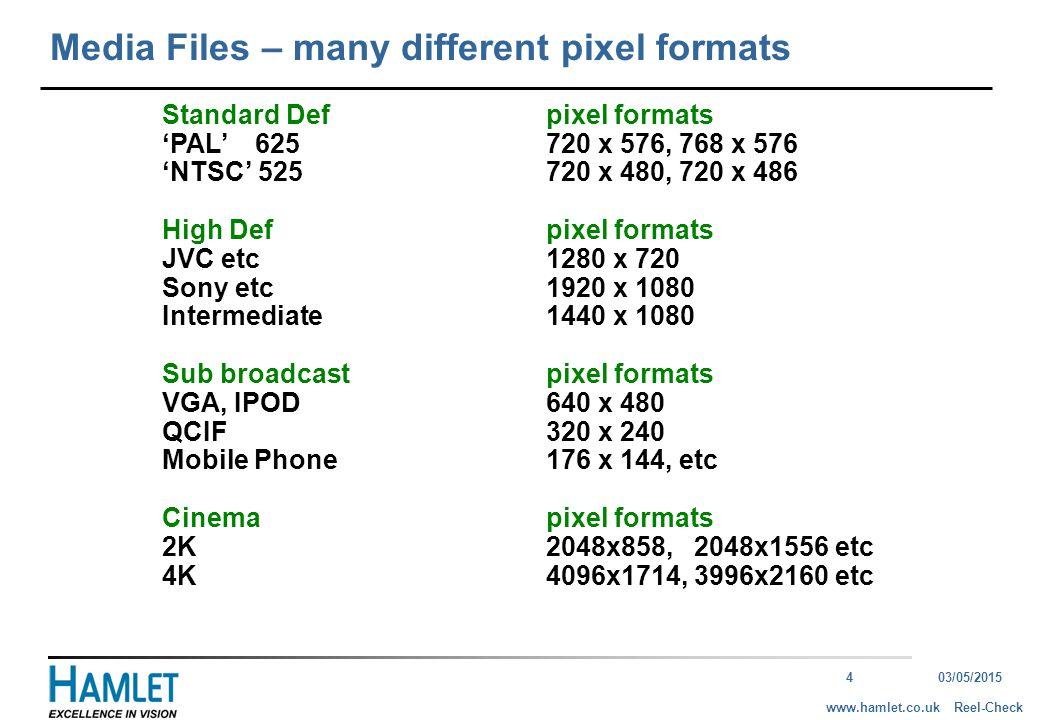 403/05/2015 Reel-Checkwww.hamlet.co.uk Standard Defpixel formats 'PAL' 625720 x 576, 768 x 576 'NTSC'525720 x 480, 720 x 486 High Defpixel formats JVC etc1280 x 720 Sony etc1920 x 1080 Intermediate1440 x 1080 Sub broadcastpixel formats VGA, IPOD640 x 480 QCIF320 x 240 Mobile Phone176 x 144, etc Cinemapixel formats 2K2048x858, 2048x1556 etc 4K4096x1714, 3996x2160 etc Media Files – many different pixel formats