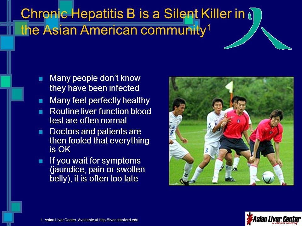 Chronic Hepatitis B is a Silent Killer in the Asian American community 1 Many people don't know they have been infected Many feel perfectly healthy Ro