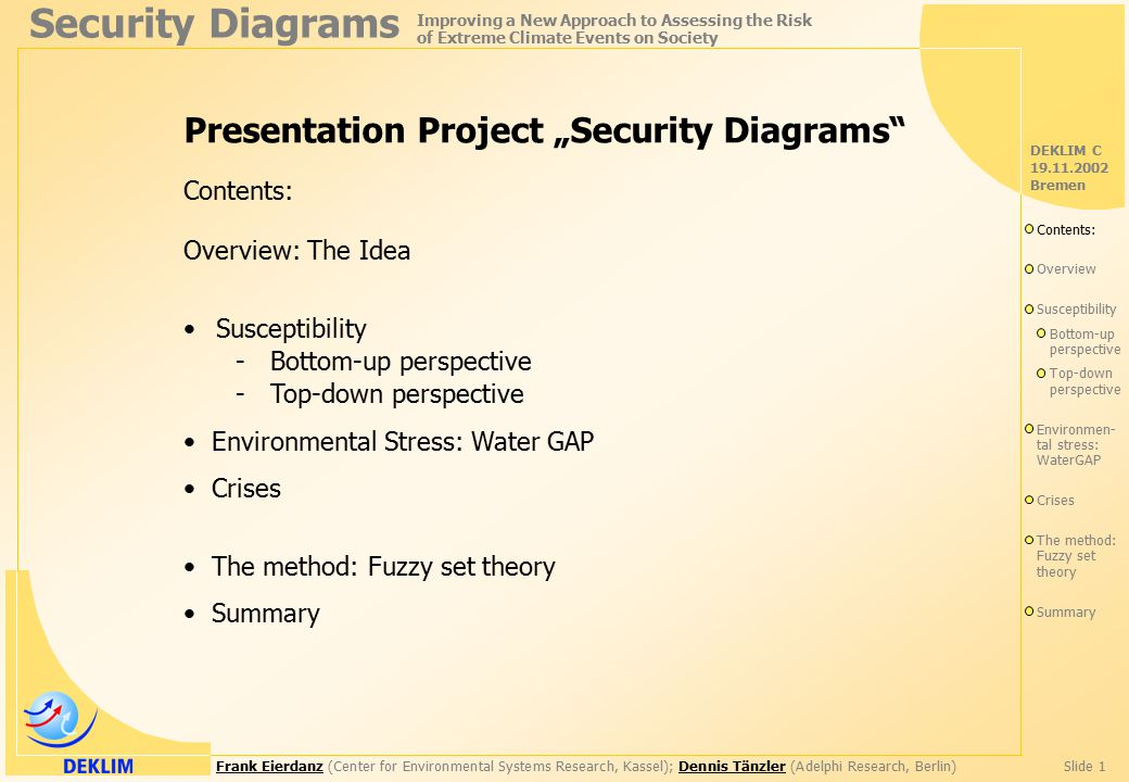 "Frank EierdanzFrank Eierdanz (Center for Environmental Systems Research, Kassel); Dennis Tänzler (Adelphi Research, Berlin)Slide 1Dennis Tänzler Security Diagrams Improving a New Approach to Assessing the Risk of Extreme Climate Events on Society DEKLIM C 19.11.2002 Bremen Presentation Project ""Security Diagrams Contents: Overview: The Idea Susceptibility - Bottom-up perspective - Top-down perspective Environmental Stress: Water GAP Crises The method: Fuzzy set theory Summary Contents: Overview Susceptibility Bottom-up perspective Top-down perspective Environmen- tal stress: WaterGAP Crises The method: Fuzzy set theory Summary"