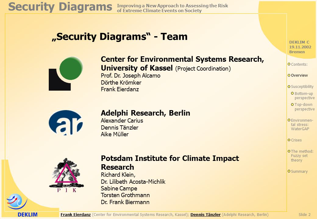"Frank EierdanzFrank Eierdanz (Center for Environmental Systems Research, Kassel); Dennis Tänzler (Adelphi Research, Berlin)Slide 2Dennis Tänzler Security Diagrams Improving a New Approach to Assessing the Risk of Extreme Climate Events on Society DEKLIM C 19.11.2002 Bremen ""Security Diagrams - Team Center for Environmental Systems Research, University of Kassel (Project Coordination) Prof."