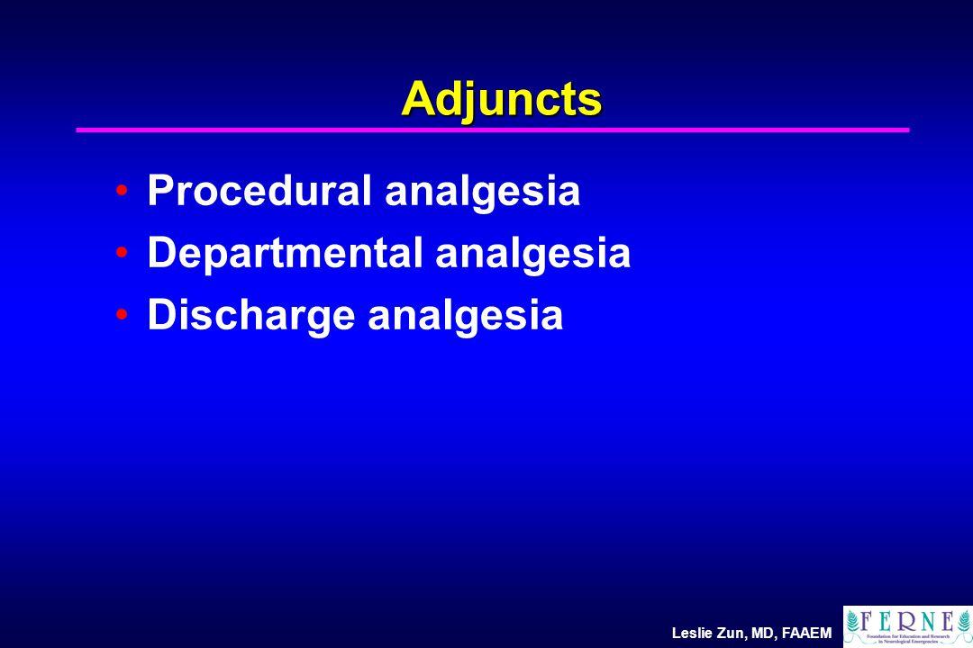 Leslie Zun, MD, FAAEM Adjuncts Procedural analgesia Departmental analgesia Discharge analgesia