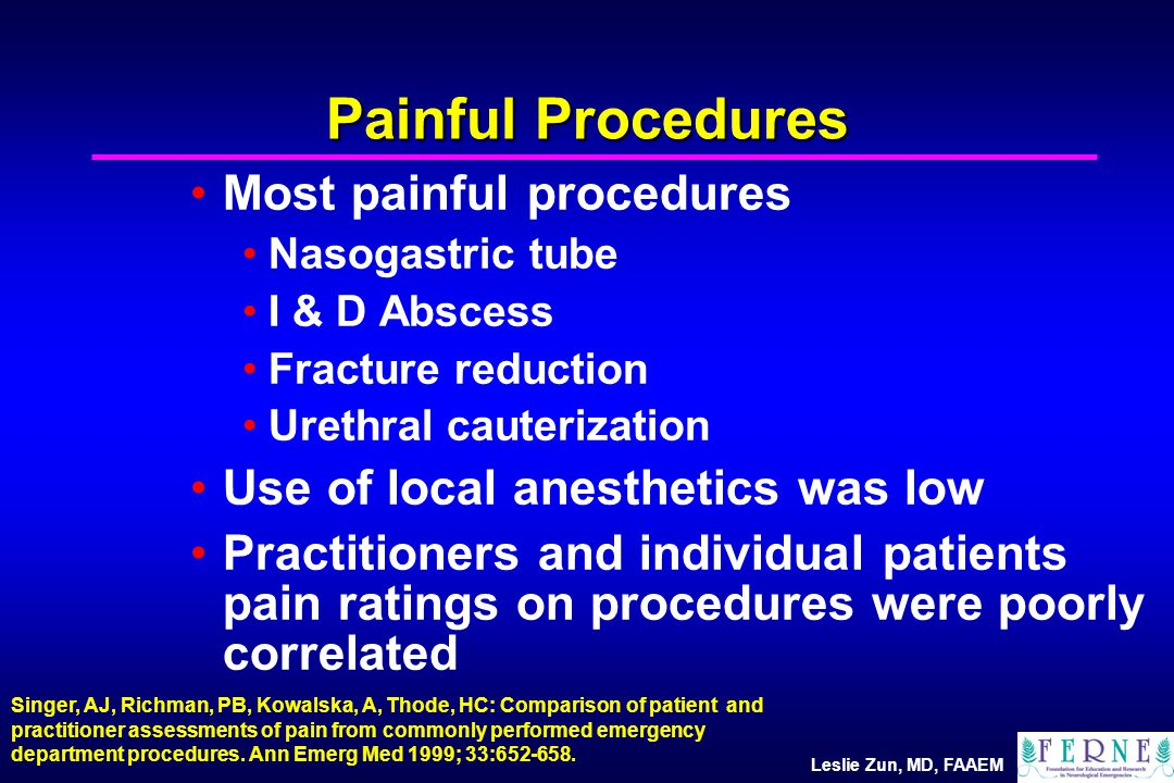 Leslie Zun, MD, FAAEM Painful Procedures Most painful procedures Nasogastric tube I & D Abscess Fracture reduction Urethral cauterization Use of local anesthetics was low Practitioners and individual patients pain ratings on procedures were poorly correlated Singer, AJ, Richman, PB, Kowalska, A, Thode, HC: Comparison of patient and practitioner assessments of pain from commonly performed emergency department procedures.
