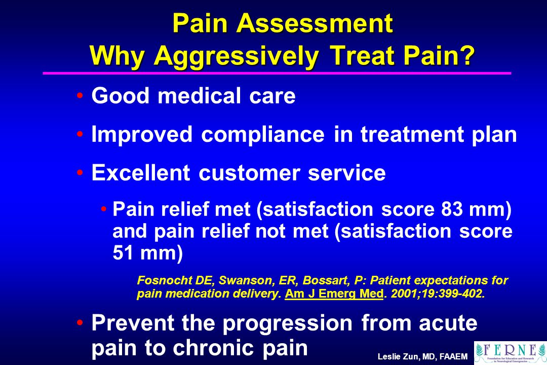 Leslie Zun, MD, FAAEM Pain Assessment Why Aggressively Treat Pain.