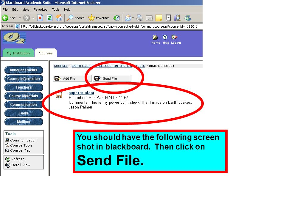 You should have the following screen shot in blackboard. Then click on Send File.