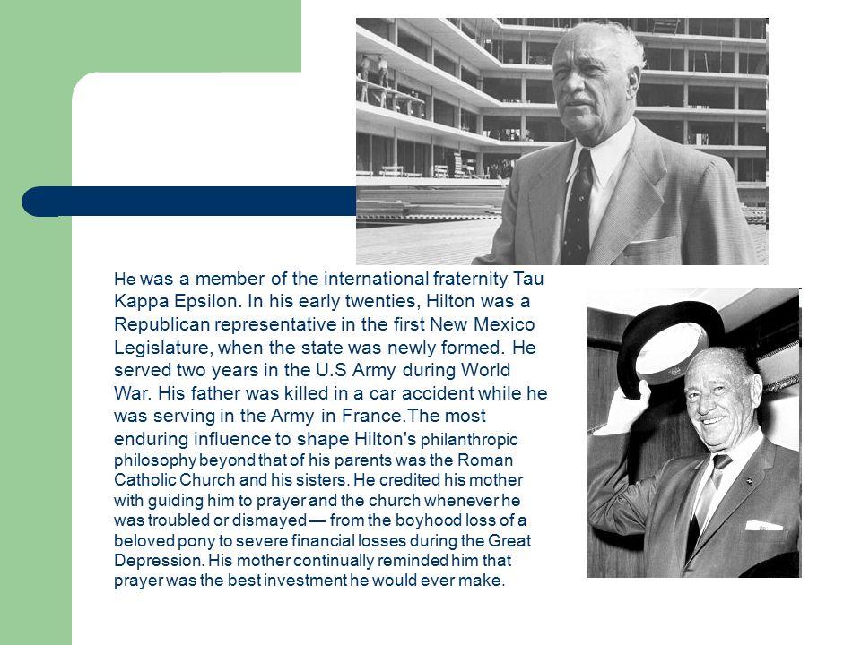 He was a member of the international fraternity Tau Kappa Epsilon.
