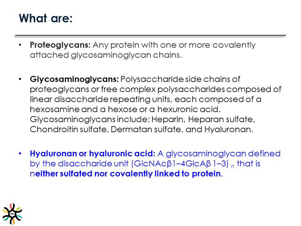 What are: Proteoglycans: Any protein with one or more covalently attached glycosaminoglycan chains. Glycosaminoglycans: Polysaccharide side chains of