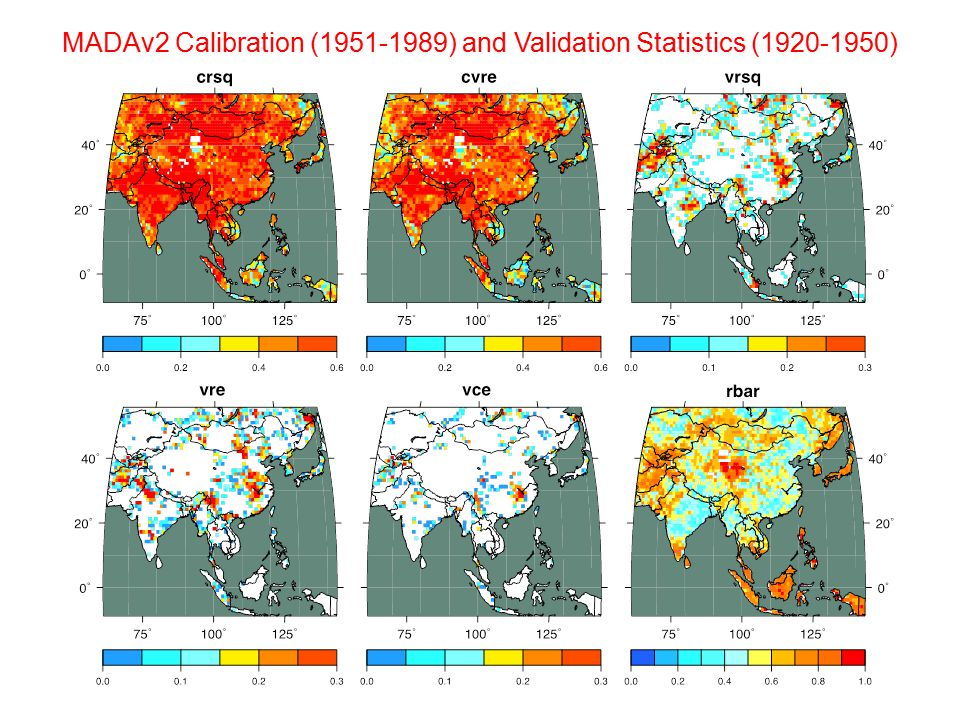 MADAv2 Calibration (1951-1989) and Validation Statistics (1920-1950)