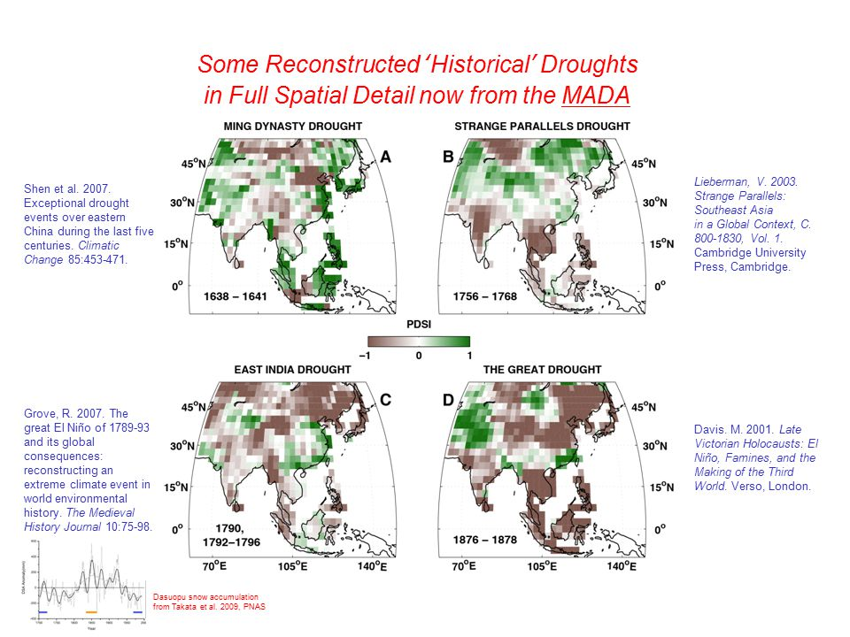 Some Reconstructed 'Historical' Droughts in Full Spatial Detail now from the MADA Lieberman, V.