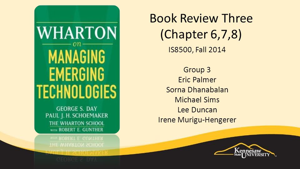 Book Review Three (Chapter 6,7,8) IS8500, Fall 2014 Group 3 Eric Palmer Sorna Dhanabalan Michael Sims Lee Duncan Irene Murigu-Hengerer