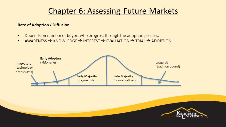 Rate of Adoption / Diffusion Depends on number of buyers who progress through the adoption process: AWARENESS  KNOWLEDGE  INTEREST  EVALUATION  TRIAL  ADOPTION Innovators (technology enthusiasts) Early Adopters (visionaries) Early Majority (pragmatists) Late Majority (conservatives) Laggards (tradition bound)