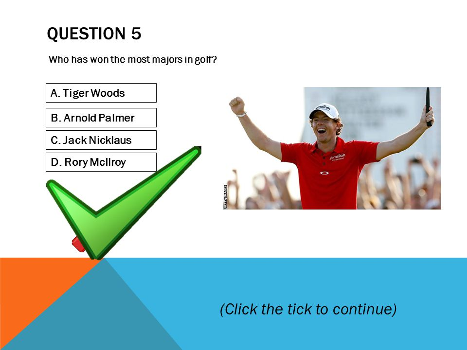 QUESTION 5 Who has won the most majors in golf. A.
