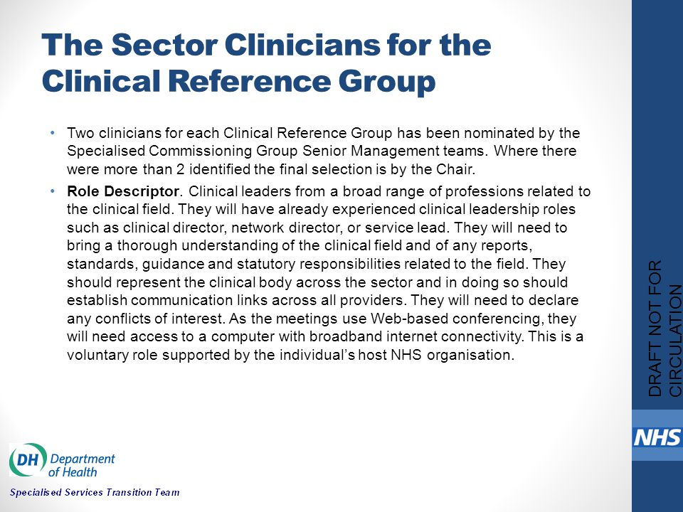 The Sector Clinicians for the Clinical Reference Group Two clinicians for each Clinical Reference Group has been nominated by the Specialised Commissioning Group Senior Management teams.
