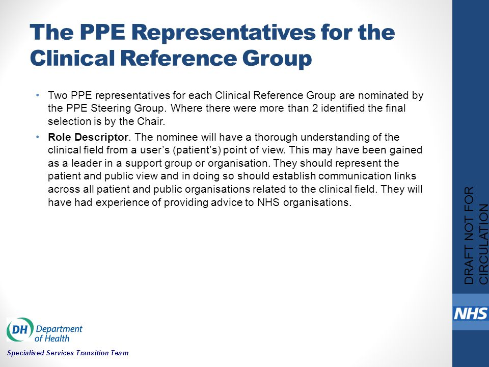 The PPE Representatives for the Clinical Reference Group Two PPE representatives for each Clinical Reference Group are nominated by the PPE Steering G