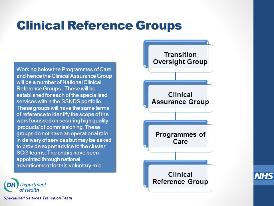 Clinical Reference Groups Transition Oversight Group Clinical Assurance Group Programmes of Care Clinical Reference Group Working below the Programmes of Care and hence the Clinical Assurance Group will be a number of National Clinical Reference Groups.
