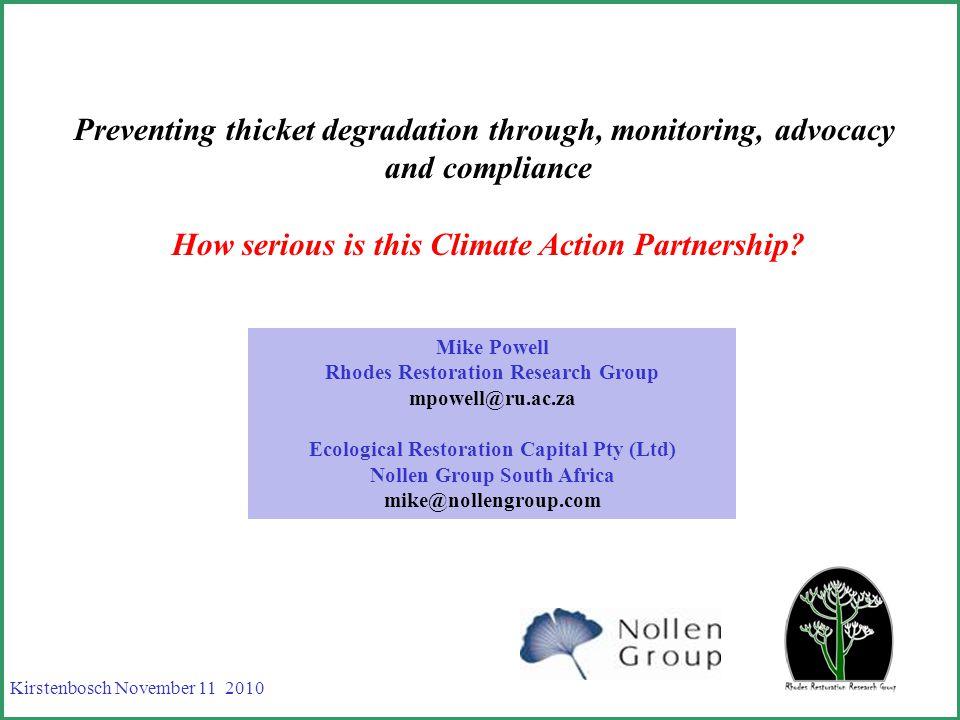 Suggestions VCS REDD VCS Spekboom restoration Bundling = carbon equity
