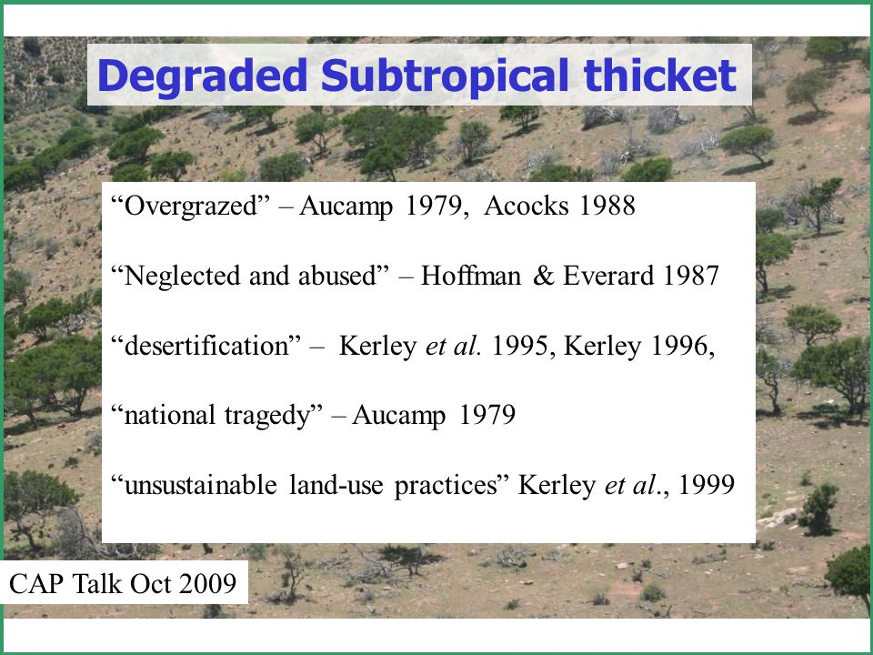 The case of Gamtoos Valley Thicket Directions: To remove carbon just add water What Ecological Reserve Determination?