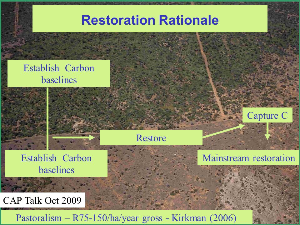 Restoration Rationale Pastoralism – R75-150/ha/year gross - Kirkman (2006) Establish Carbon baselines Restore Capture C Mainstream restoration CAP Talk Oct 2009