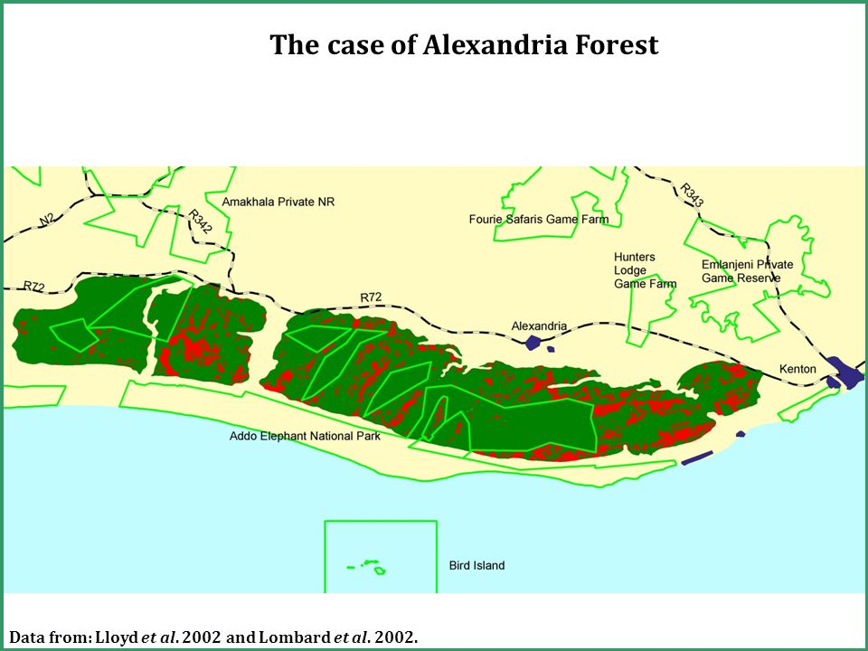 The case of Alexandria Forest Data from: Lloyd et al. 2002 and Lombard et al. 2002.
