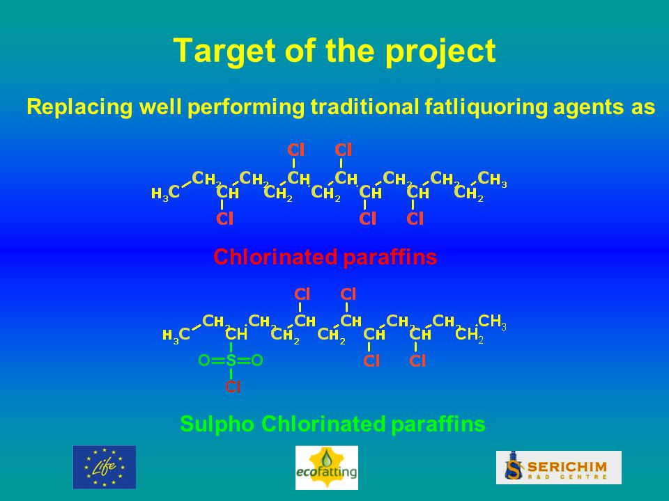 Target of the project Replacing well performing traditional fatliquoring agents as Chlorinated paraffins Sulpho Chlorinated paraffins