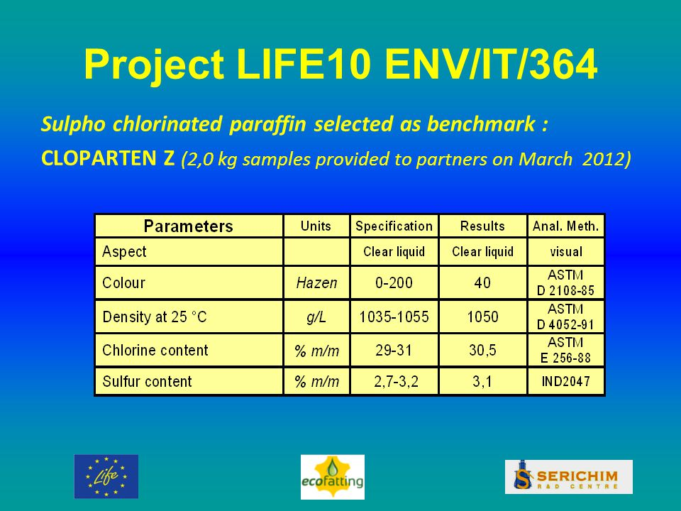 Project LIFE10 ENV/IT/364 Sulpho chlorinated paraffin selected as benchmark : CLOPARTEN Z (2,0 kg samples provided to partners on March 2012)