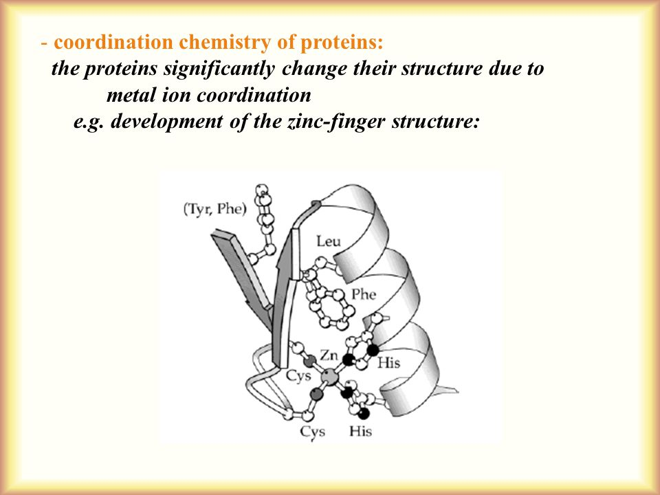 - coordination chemistry of proteins: the proteins significantly change their structure due to metal ion coordination e.g.