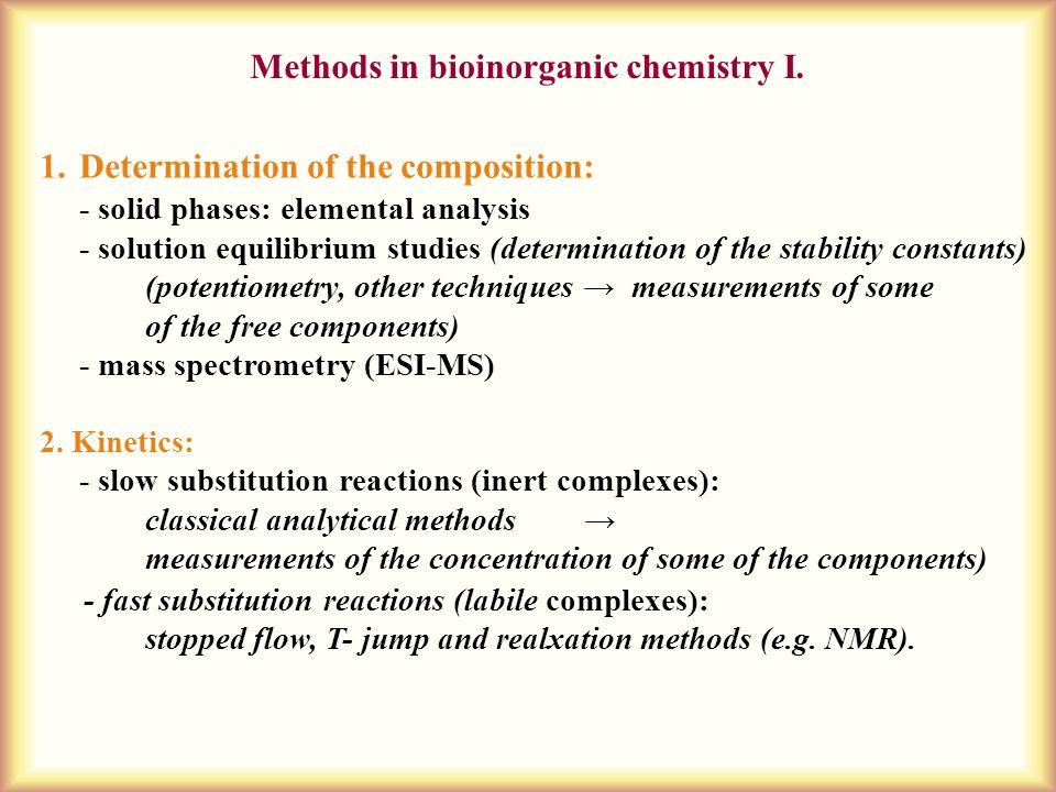 Methods in bioinorganic chemistry I.