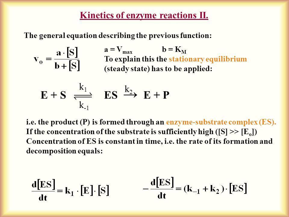 Kinetics of enzyme reactions II.