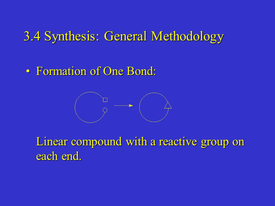 3.4 Synthesis: General Methodology Formation of One Bond:Formation of One Bond: Linear compound with a reactive group on each end.