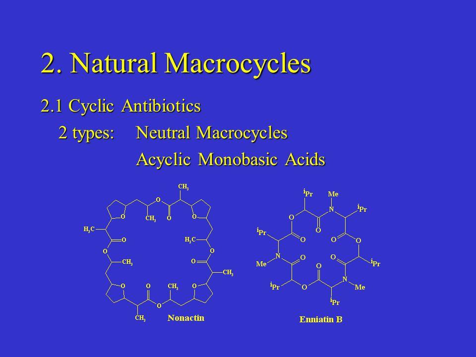 2. Natural Macrocycles 2.1 Cyclic Antibiotics 2 types: Neutral Macrocycles Acyclic Monobasic Acids