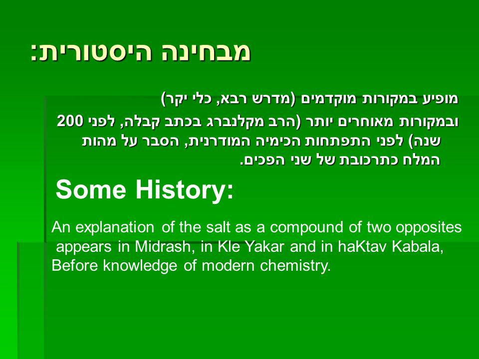 מבחינה היסטורית : מופיע במקורות מוקדמים (מדרש רבא, כלי יקר) ובמקורות מאוחרים יותר (הרב מקלנברג בכתב קבלה, לפני 200 שנה) לפני התפתחות הכימיה המודרנית,