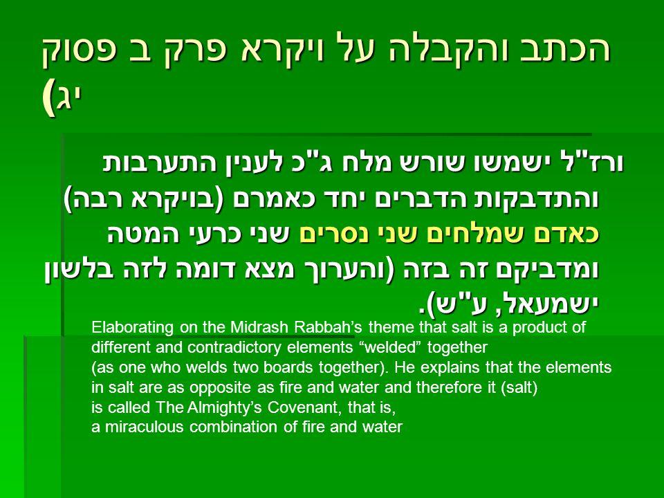 הכתב והקבלה על ויקרא פרק ב פסוק יג ( ורז