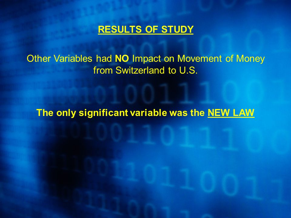 RESULTS OF STUDY Other Variables had NO Impact on Movement of Money from Switzerland to U.S. The only significant variable was the NEW LAW