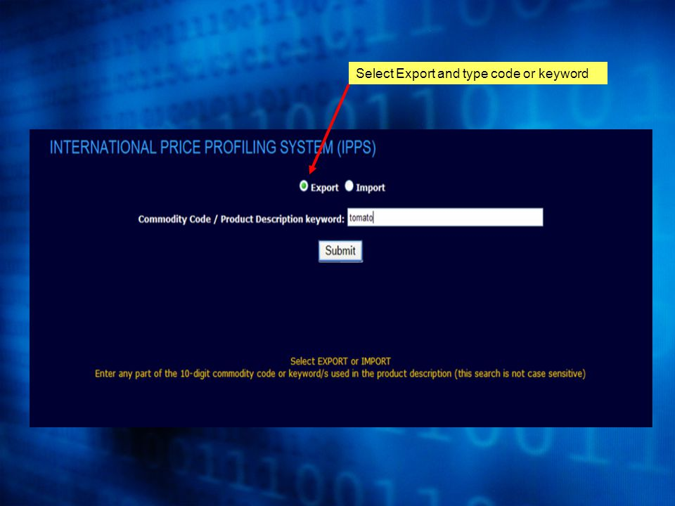 Select Export and type code or keyword