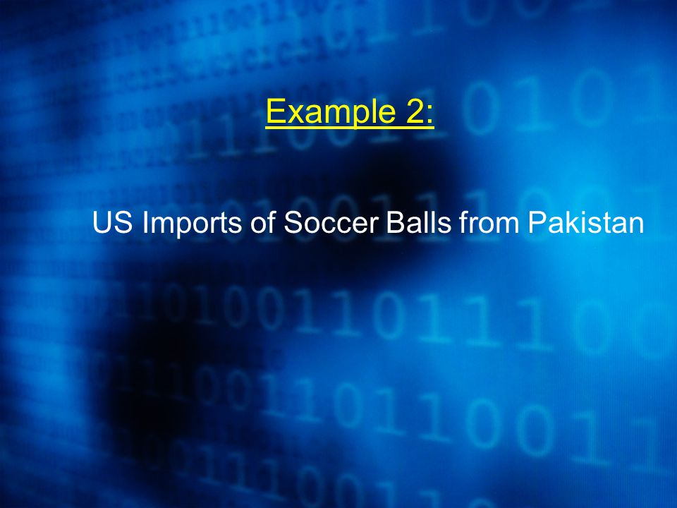 Example 2: US Imports of Soccer Balls from Pakistan