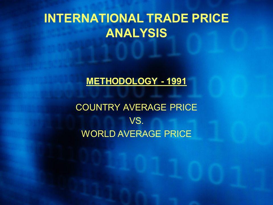 INTERNATIONAL TRADE PRICE ANALYSIS METHODOLOGY - 1991 COUNTRY AVERAGE PRICE VS. WORLD AVERAGE PRICE