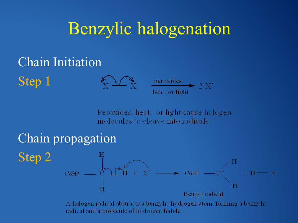 Benzylic halogenation Chain Initiation Step 1 Chain propagation Step 2
