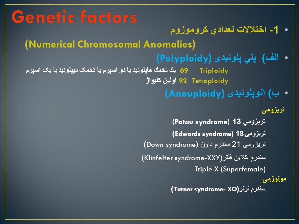 1- اختلالات تعدادي كروموزوم (Numerical Chromosomal Anomalies) الف ) پلي پلوئيدی (Polyploidy) Triploidy 69 يك تخمك هاپلوئيد با دو اسپرم یا تخمک دیپلوئید با یک اسپرم Tetraploidy 92 اولين كليواژ ب ) آنوپلوئيدی (Aneuploidy) تريزومی تريزومي 13 (Patau syndrome) تريزومی 18 (Edwards syndrome) تریزومی 21 سندرم داون (Down syndrome) سندرم كلاين فلتر (Klinfelter syndrome-XXY) Triple X (Superfemale) مونوزمی سندرم ترنر (Turner syndrome- XO)