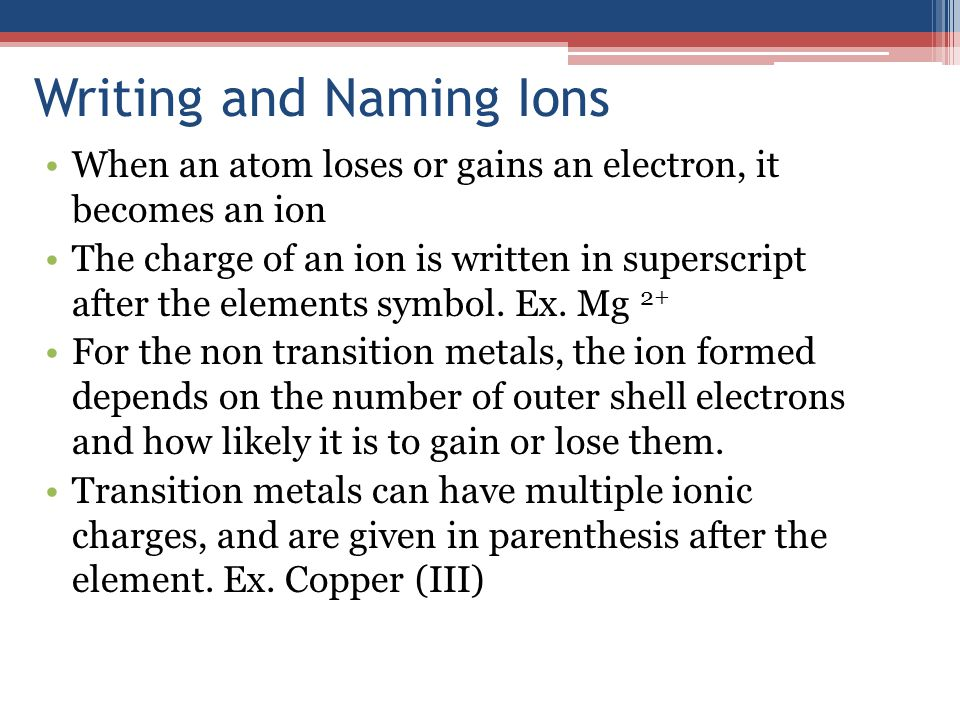 Writing and Naming Ions When an atom loses or gains an electron, it becomes an ion The charge of an ion is written in superscript after the elements symbol.