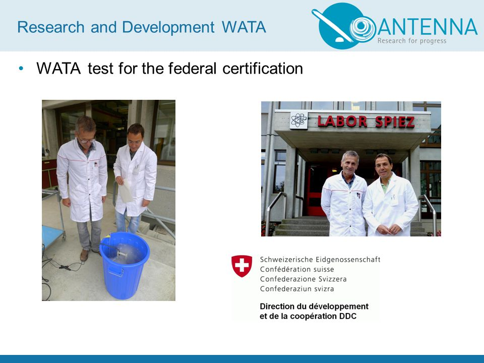 WATA test for the federal certification Research and Development WATA
