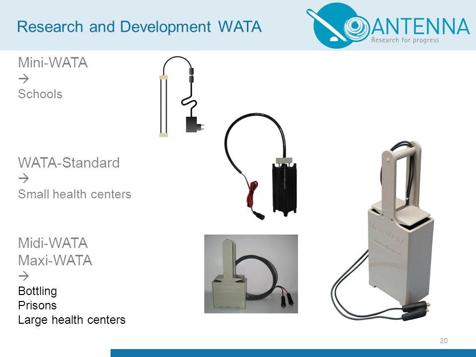 20 Mini-WATA  Schools WATA-Standard  Small health centers Midi-WATA Maxi-WATA  Bottling Prisons Large health centers Research and Development WATA