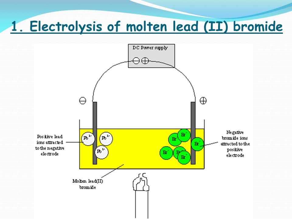 1. Electrolysis of molten lead (II) bromide