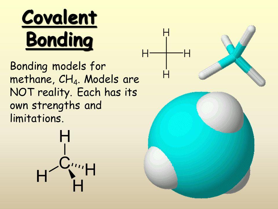 Covalent Bonding Bonding models for methane, CH 4.