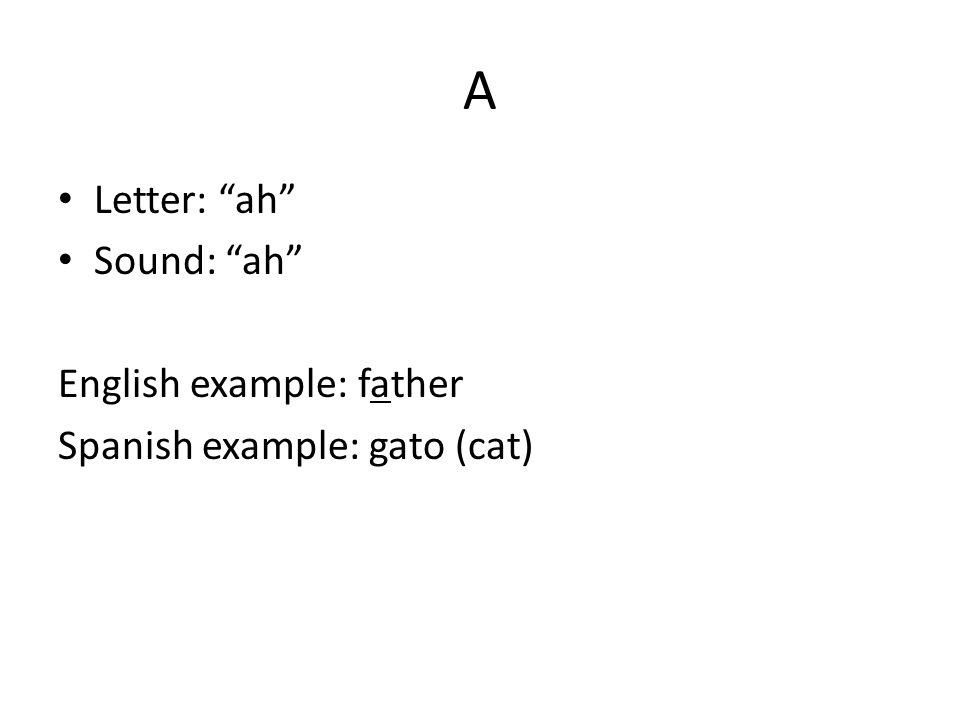 A Letter: ah Sound: ah English example: father Spanish example: gato (cat)