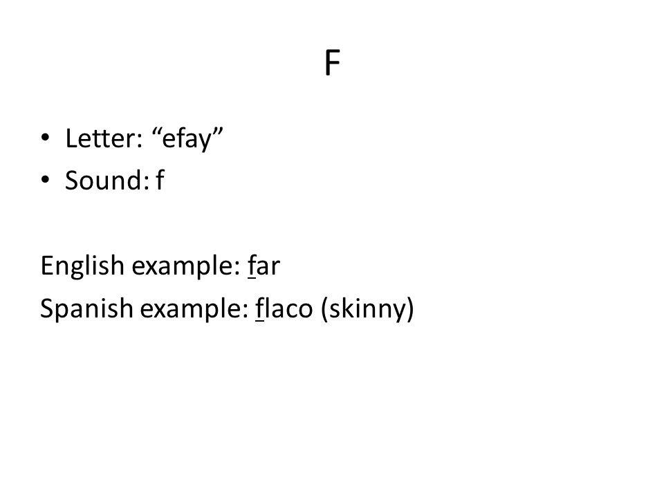 X Letter: aykees Sound: ks (sometimes sh or h) English example: exact ; hotel Spanish example: exactamente (exactly), México