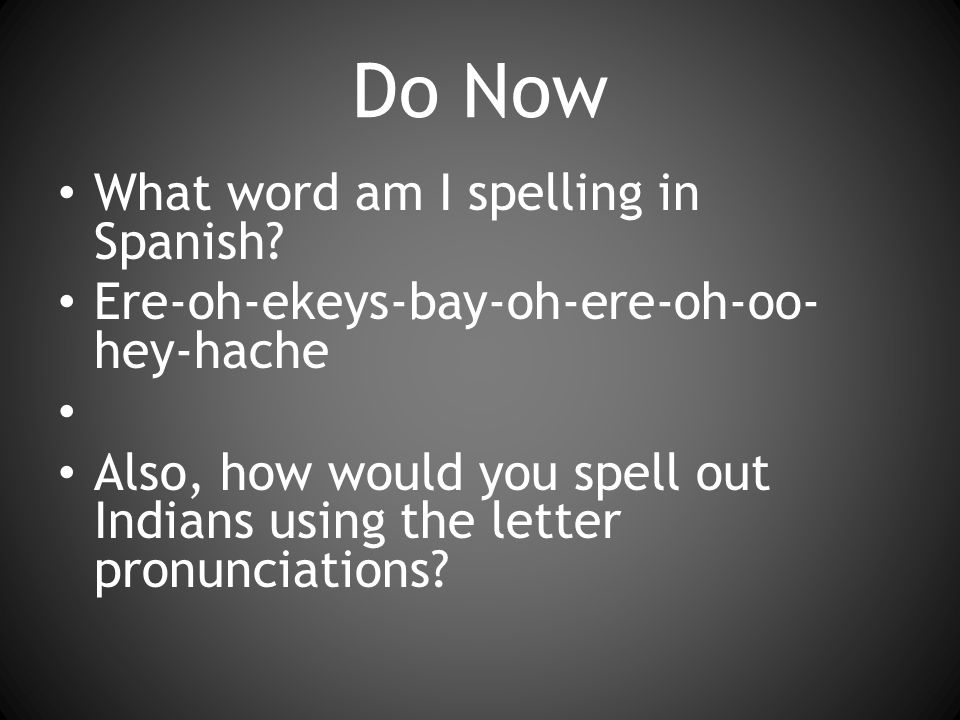Do Now What word am I spelling in Spanish.