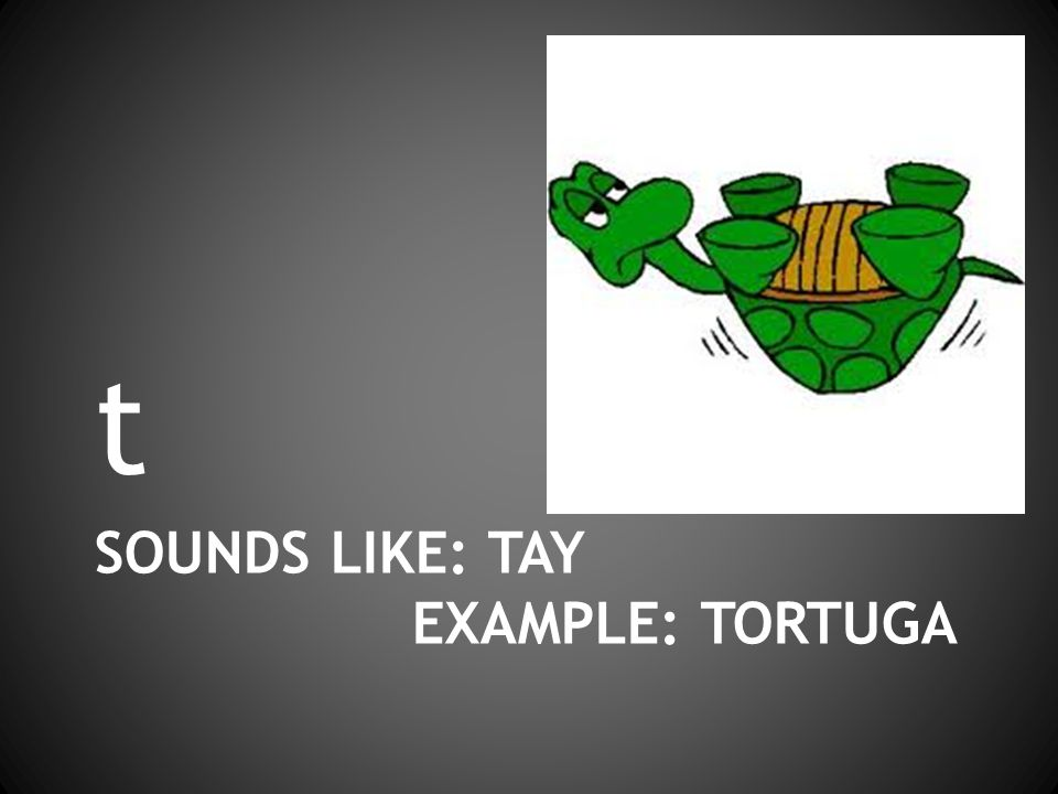 SOUNDS LIKE: TAY EXAMPLE: TORTUGA t