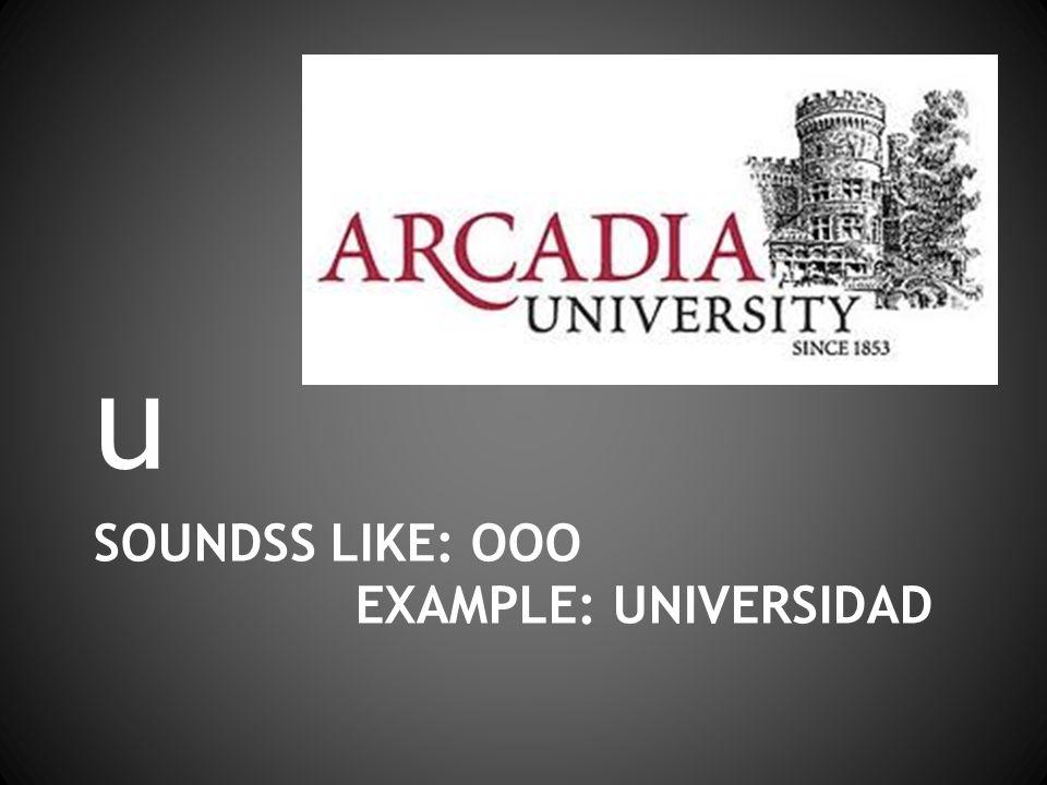 SOUNDSS LIKE: OOO EXAMPLE: UNIVERSIDAD u