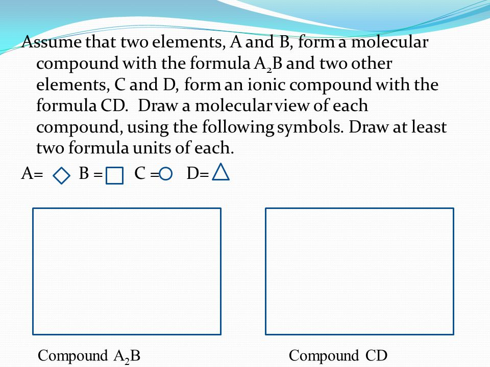 Assume that two elements, A and B, form a molecular compound with the formula A 2 B and two other elements, C and D, form an ionic compound with the f