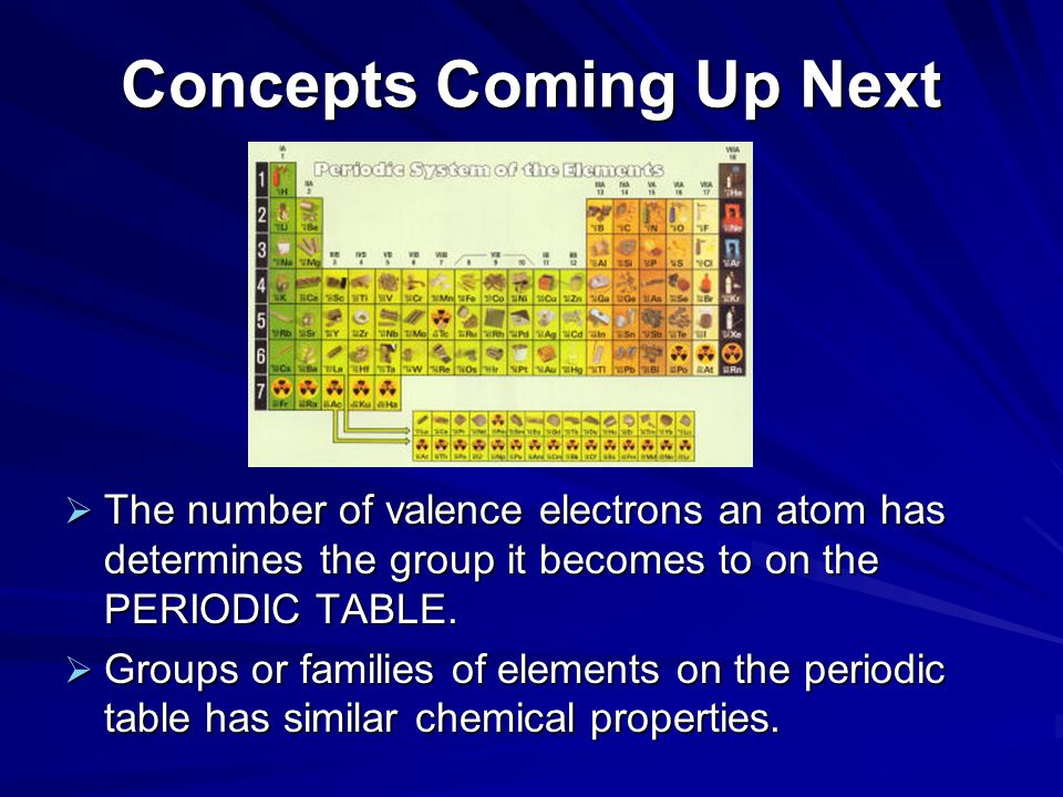 Concepts Coming Up Next  The number of valence electrons an atom has determines the group it becomes to on the PERIODIC TABLE.  Groups or families o