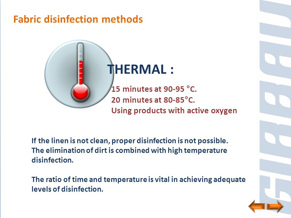 Time and temperature ratio % desinfection Washing conditions